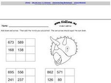 Grade Two Addition Tables- Two and Three Digit Numbers Worksheet