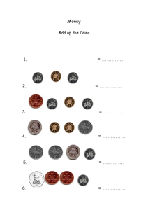 Money: Add Up the Coins  (English Pence) Worksheet