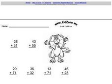 Addition of 2 Digit Numbers: No Regrouping Worksheet