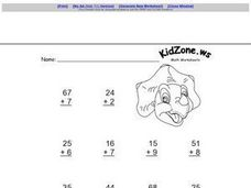 Identity Property of Addition- One and Two Digit Addends Worksheet