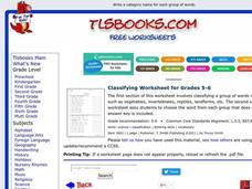 Classifying Worksheet