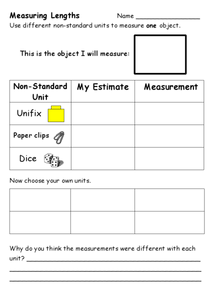Using Different Non-Standard Units to Measure Worksheet