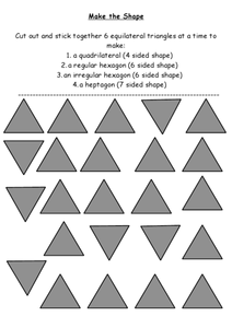 Cutting and Pasting Equilateral Triangles Worksheet