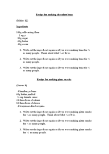Math Word Problems: Converting Recipe Amounts Worksheet