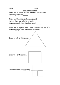 Fractions Problems Worksheet