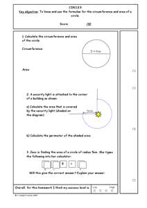 Circles: Circumference and Area Worksheet