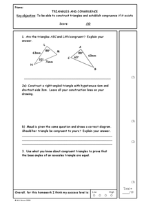 Triangles and Congruence Worksheet