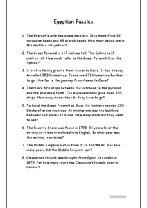 Egyptian Puzzles Worksheet