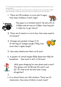 Operations Word Problems Worksheet
