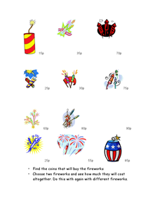 Fireworks Money (English Currency) Worksheet