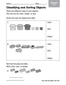 Classifying and Sorting Objects Worksheet
