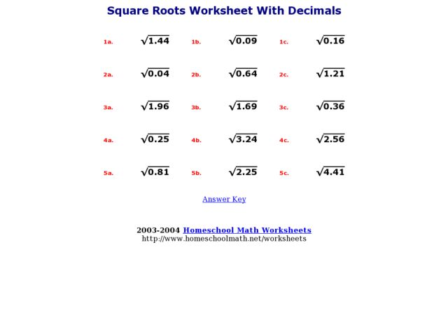 Square Roots Worksheet With Decimals 7th 8th Grade Worksheet – Square Root Worksheet