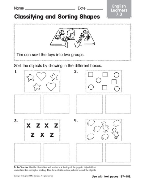 Classifying and Sorting Shapes Worksheet