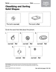 Classifying and Sorting Solid Shapes Worksheet