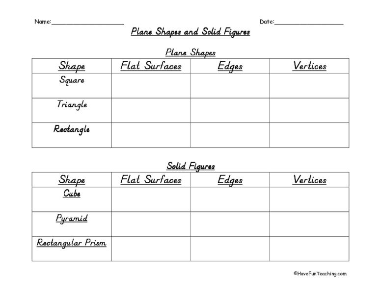 plane shapes and solid figures worksheet for 4th 5th grade lesson planet. Black Bedroom Furniture Sets. Home Design Ideas