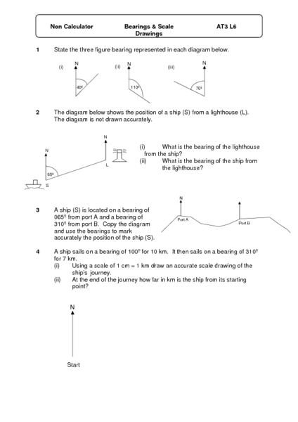 Bearings And Scale Drawings Worksheet For 6th 8th Grade