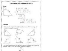 Trigonometry Finding Sides 2 Worksheet