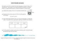 Tin Can Container Worksheet
