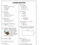 Algebra Revision Worksheet