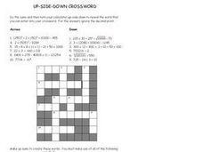 Up Side Down Crossword Worksheet