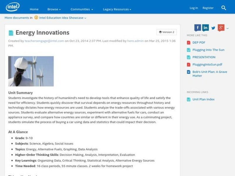 Energy Innovations Unit for 8th - 12th Grade | Lesson Planet
