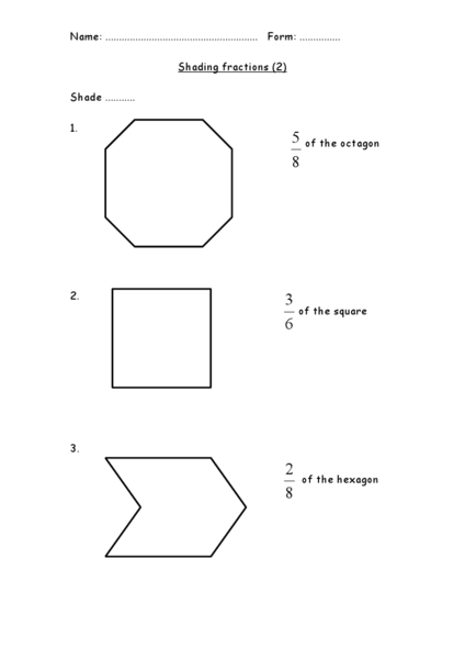 Shading Fractions Worksheet For 3rd 4th Grade Lesson