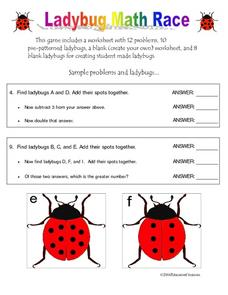 Ladybug Math Race Worksheet