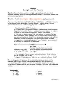 Camping 1 and 2 Step Problems Worksheet