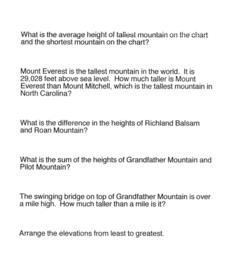 NC Mountain Questions Worksheet