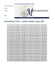 Eratosthenes' Sieve – Prime Numbers Up To 500 Worksheet