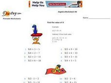 Algebra Worksheet #4, Find the Value of X Worksheet