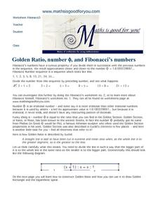 Golden Ratio, Number Φ, And Fibonacci's Numbers Worksheet