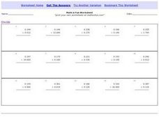 Division of Decimals, Version 1 Worksheet