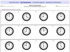 Math is Fun: Telling Time to the Hour Worksheet