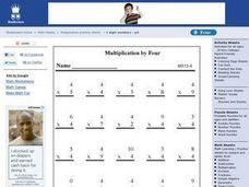Multiplication By Four Worksheet