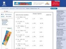 Simple Algebra; Solve for the Variables Worksheet