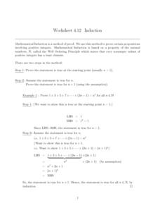 Worksheet 4.12, Induction Worksheet