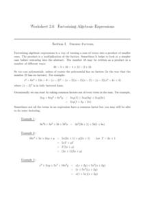 Factorizing Algebraic Expressions Worksheet