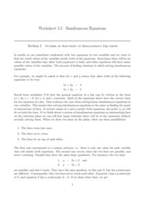 Worksheet 3.5 Simultaneous Equations Worksheet