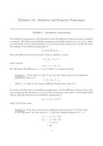Arithmetic and Geometric Progressions Worksheet