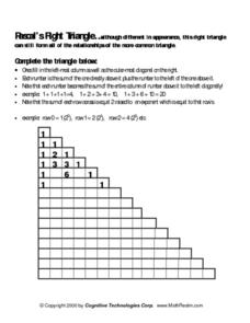 Pascal's Right Triangle Lesson Plan