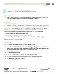 Graphs of Quadratic Functions Lesson Plan