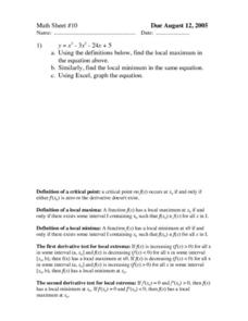 Math Sheet #10 Worksheet