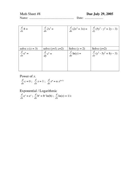 Math Sheet #8 Worksheet