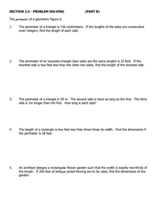 Section 2.5 - Problem Solving (Part B) Worksheet