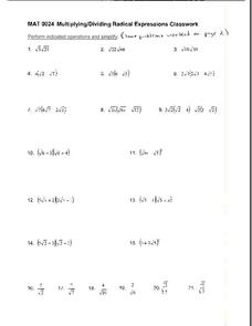 multiplyingdividing radical expressions worksheet for th  th  multiplyingdividing radical expressions worksheet