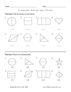 Fractions: Halves And Thirds Worksheet