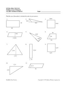 Finding Areas of Polygons- Extra Practice Worksheet Lesson Plan