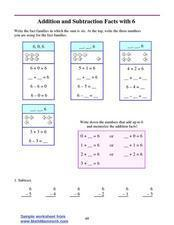 Addition And Subtraction Facts With 6 Lesson Plan