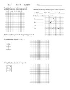 Test 3 - Mat 98 Worksheet